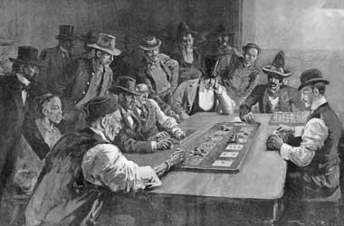 Men playing card game Faro