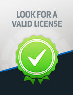 Look for a Valid License icon